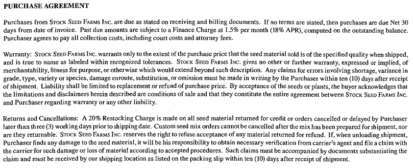 Stock Seed Return Policy